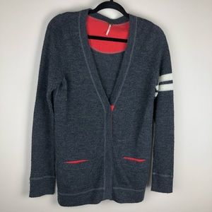 Free People Varsity stripe sleeve cardigan Gray S